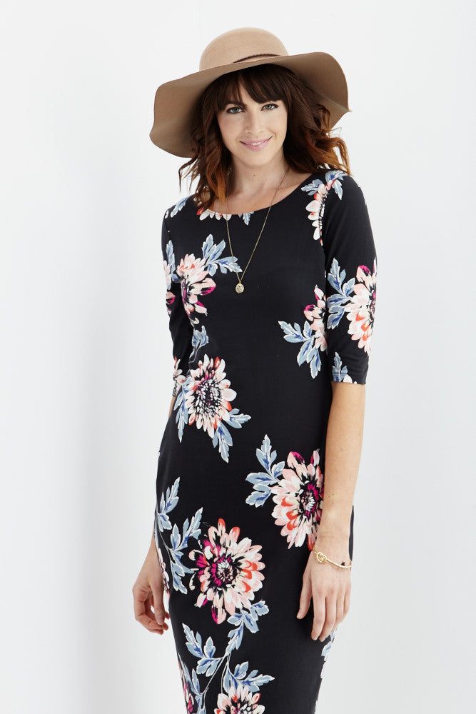 LARA: Carly Floral Midi Dress in Black - Good Row Clothing  - 1