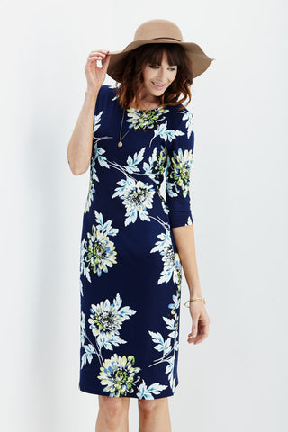 LARA: Carly Floral Midi Dress in Navy - Good Row Clothing  - 1