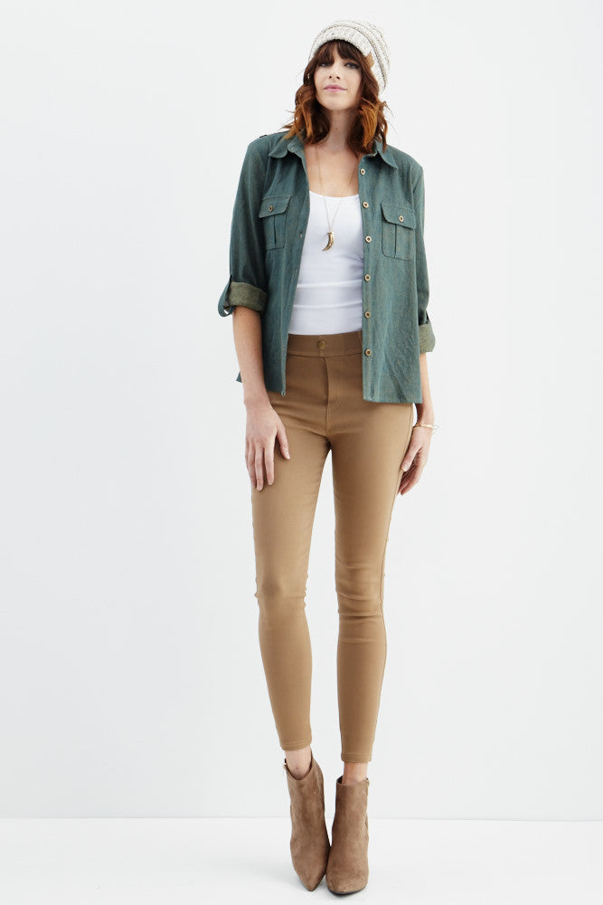LARA: Solid Style Jeggings in Khaki - Good Row Clothing  - 5