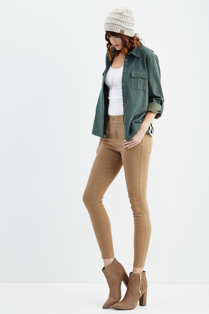 LARA: Solid Style Jeggings in Khaki - Good Row Clothing  - 4