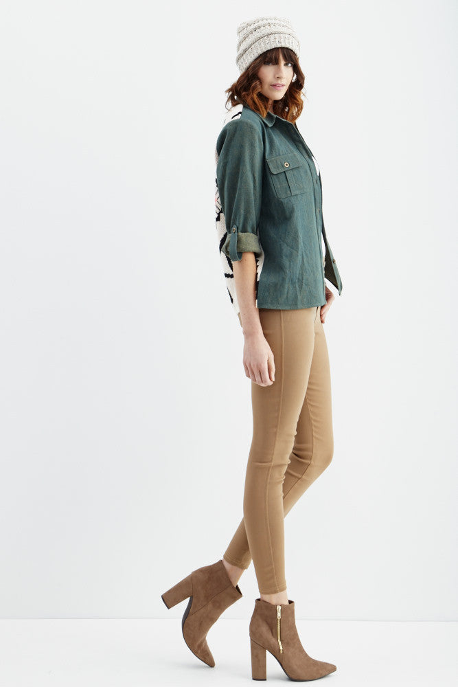 LARA: Solid Style Jeggings in Khaki - Good Row Clothing  - 3