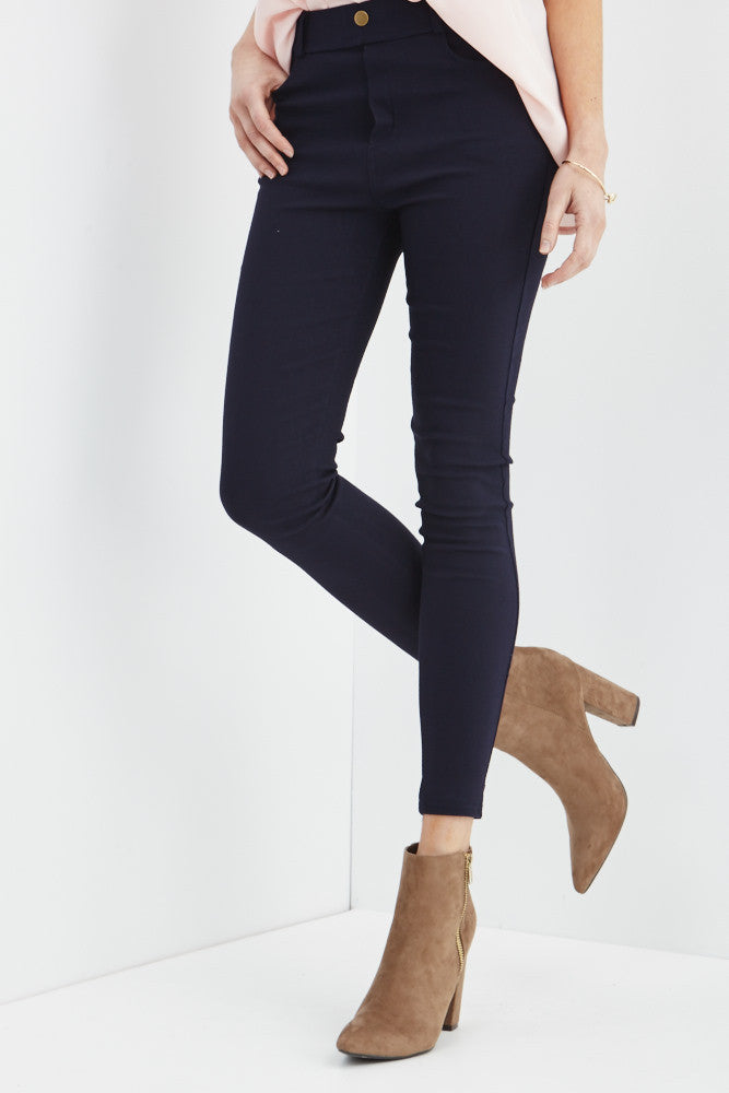 LARA: Solid Style Jeggings in Navy - Good Row Clothing  - 1
