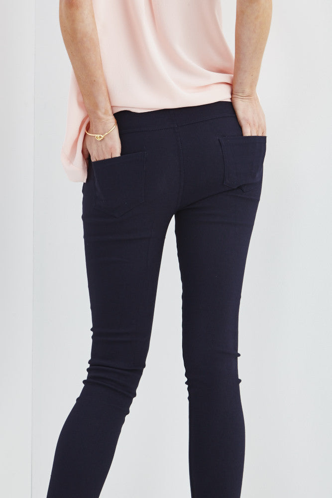 LARA: Solid Style Jeggings in Navy - Good Row Clothing  - 4