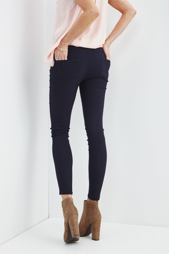 LARA: Solid Style Jeggings in Navy - Good Row Clothing  - 3