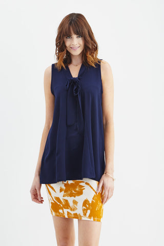 LARA: Madeline Bow Blouse in Navy - Good Row Clothing  - 1