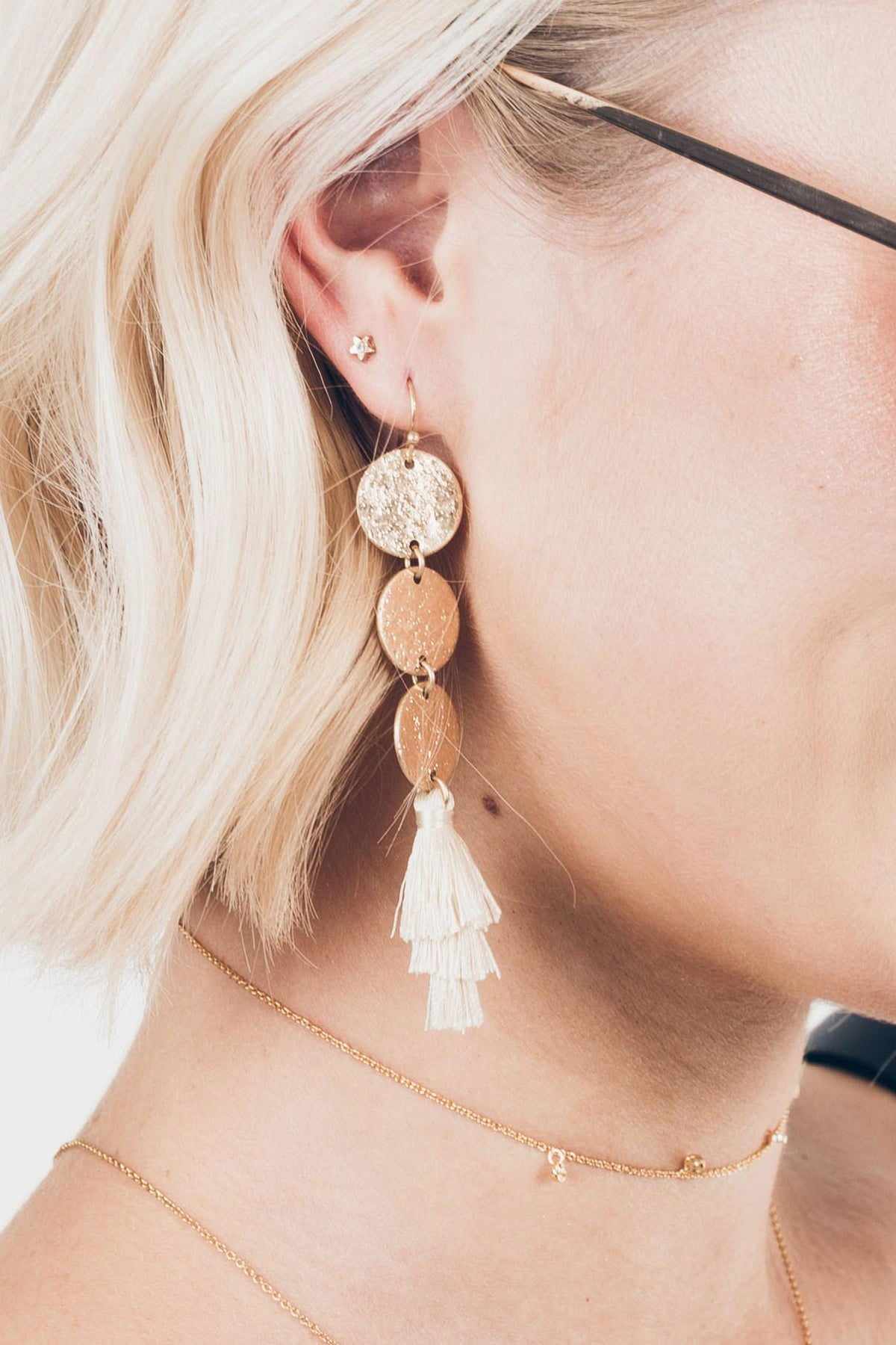 Trifecta Earrings in Ivory