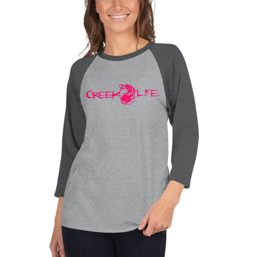 Creek Life Ladies 3/4 Sleeve Shirt - Neon Red