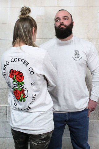 STRONG COFFEE unisex long sleeves shirt with a rose and mug design
