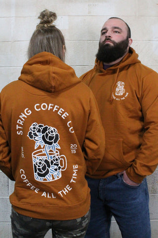 STRONG COFFEE unisex pullover hoodie brown leather view from the front and the back