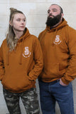 STRONG COFFEE unisex pullover hoodie brown leather view from the front both on man and women