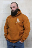 STRONG COFFEE unisex pullover hoodie brown leather view from the front man