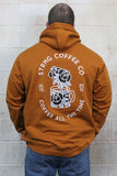 STRONG COFFEE unisex pullover hoodie brown leather view from the back man