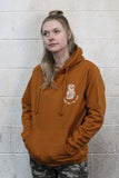 STRONG COFFEE unisex pullover hoodie brown leather view from the front woman