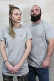 STRONG COFFEE unisex long t-shirt athletic grey heathered with our small logo on the heart