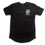 STRONG COFFEE long fit tee black for men with our leaves and cherries logo on front