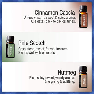 Pure Body Naturals Holistic Aromatherapy Essential Oils Winter Sampler Set, Peppermint, Cinnamon, Clove, Nutmeg, Fir Needle, Pine Scotch - 10 Milliliter (6 Count)