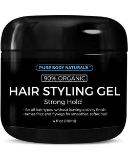 Strong Hold Hair Gel for Men, Chemical Free with Hydrating Aloe For Shiny Healthy Hair by Pure Body Naturals, 4 Fl Ounce