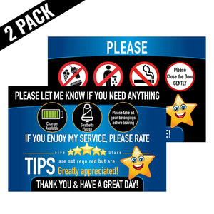 Rideshare Driver Signs Rating Tips Accessories Large 9x6 Inch Premium Synthetic Poly 14 mil Paper Tear Proof Backseat Headrest Display Cards pk 2 Cards Perfect Your Business Made in The USA