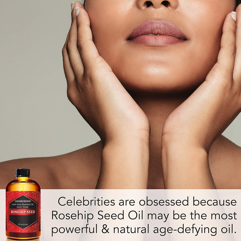 Rosehip Seed Oil, Cold Pressed & 100% Pure Rosehip Oil for Face, Nails, Skin, and Body by Pure Body Naturals, 1 Fl. Ounce