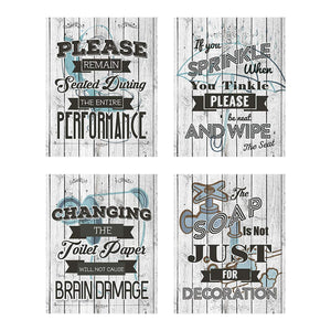 Business Basics Bathroom Quotes and Sayings Rustic Shabby Chic Art Prints | Set of Four Pictures 8x10 Unframed | Great Gift for Bathroom Décor | Designed and Printed in The U.S.A