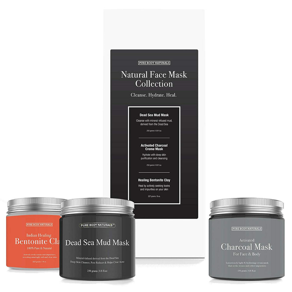 Face Mask Set with Dead Sea Mud Mask, Bentonite Clay Mask and Activated Charcoal Mask, Variety Set for Women and Men by Pure Body Naturals 8.8 Ounce Each (3 Count)