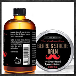 Pure Body Naturals Beard Care Kit for Men, Oil (2 oz.) & Balm (1.75 oz.) with Gift Bag