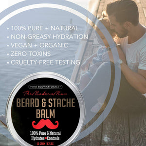 Natural Beard Balm for Men, Non-Greasy Beard Wax and Conditioner for Beard Growth, Amber Musk Scent Mustache Wax, Cruelty-Free, Beard Conditioner, Softening Beard Care by Pure Body Naturals (3)