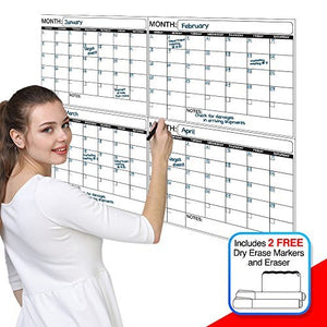Jumbo Laminated Dry Erase or Wet Erase 4 Month Quarterly Wall Calendar 38 x 45 inches Large Daily squares to plan your whole day or month Perfect for Office, College, Home, and Schools
