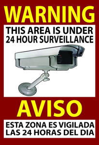 "Warning Security 13x19"" Sign & 6 Video Surveillance Sticker 3x4"" Home Business"