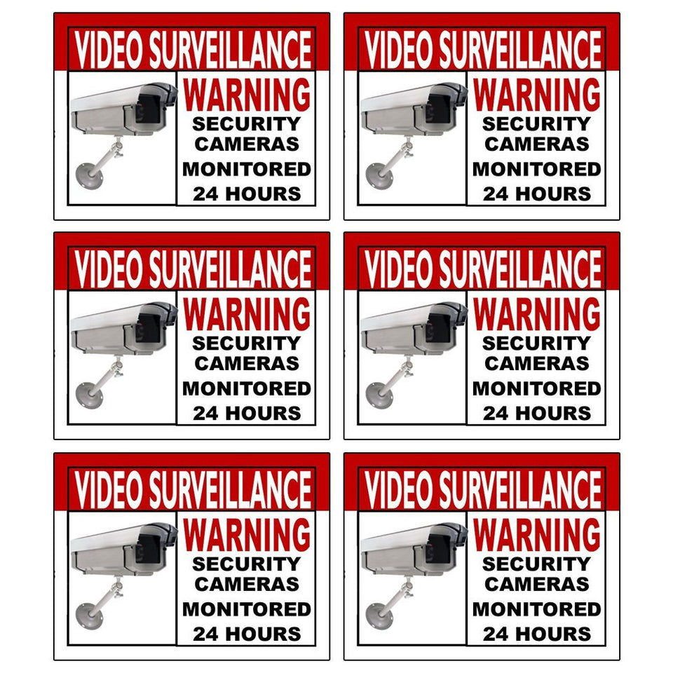 6 Video Surveillance Warning Sticker Home and Business Security Sign Camera
