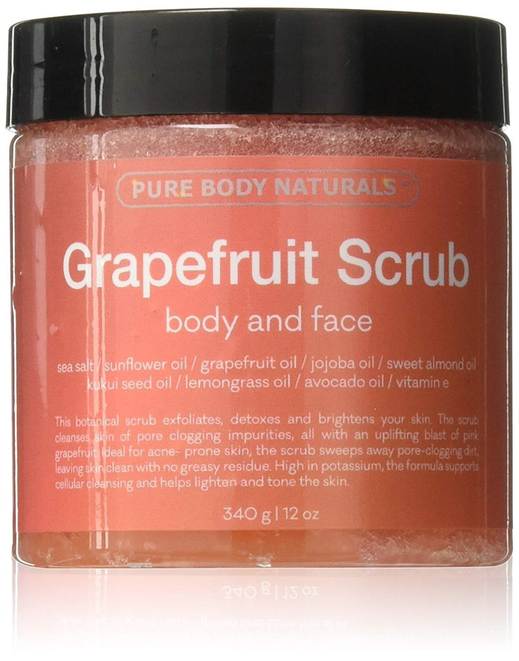 Grapefruit Scrub by Pure Body Naturals, Face and Body Scrub for Acne and Inflammation, 12 Ounce