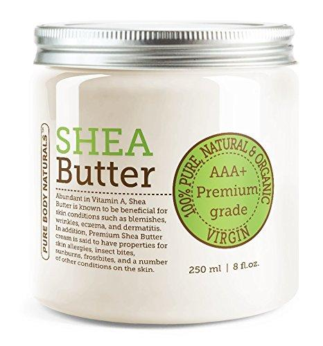 Organic Shea Butter, Unrefined, Pure, Raw Body Lotion for Face, Hair, Body & DIY Recipes by Pure Body Naturals, 8 Ounce