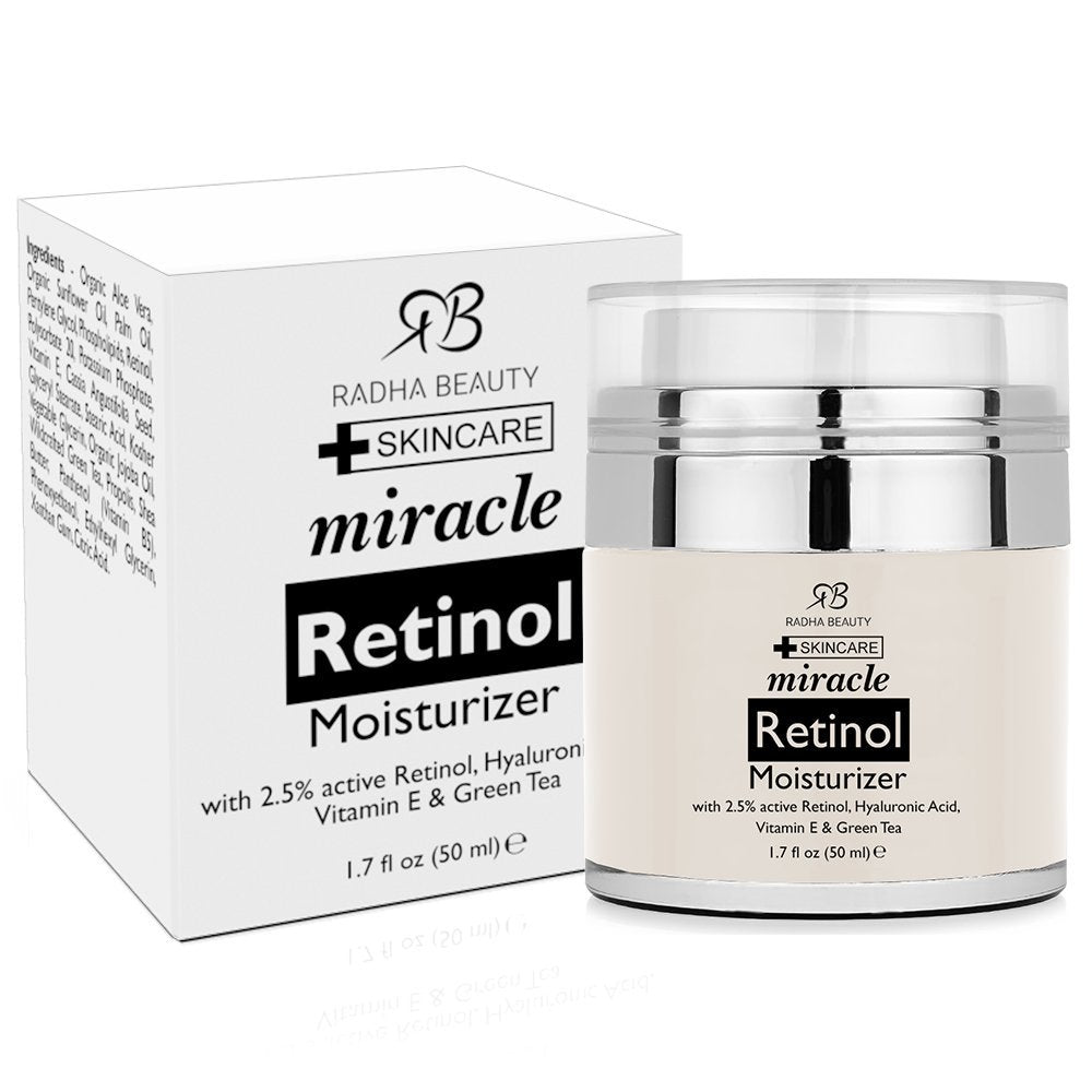 Radha Beauty Retinol Cream Moisturizer for Face & Eye Area 1.7 fl.oz Skin Care