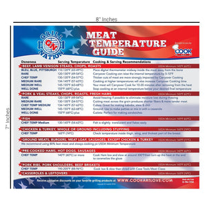 Magnetic Meat Smoking Wood Temperature Guide & Meat Temperature Chart