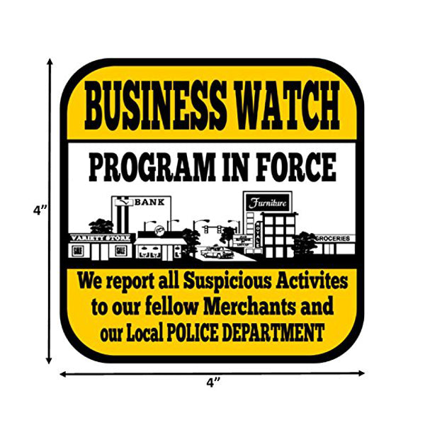 6 Warning Neighborhood Watch Sticker Sign Business for Indoor Outdoor 4 x 4in