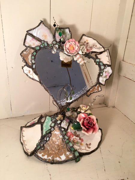 Upcycled Vintage China Heart Mirror with Stand