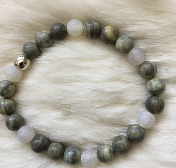 BeSu Moss Agate and White Jade Bracelet