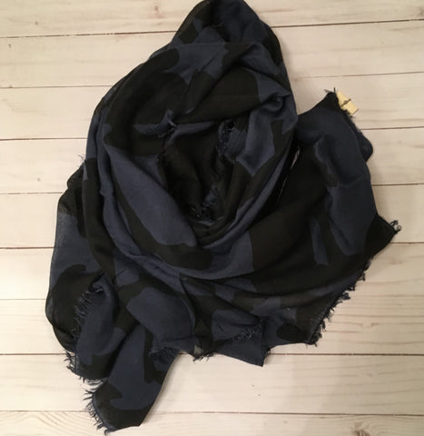 La Fee Maraboutee Navy and Black Print Scarf