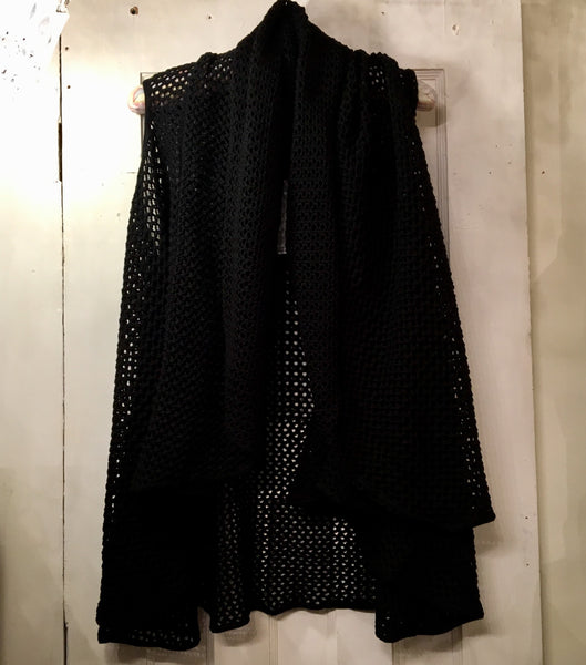 Shannon Passero Open Knit Shawl Vest - Black