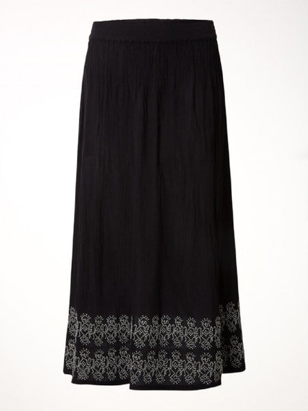 White Stuff Alissa Crinkle Embroidered Skirt - Black - Size 14 (UK 18)