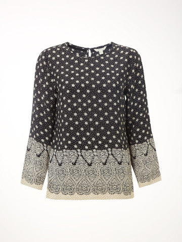 White Stuff Anna Top - Black Print