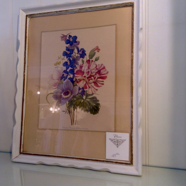 Vintage Shabby Chic Floral Print with Frame