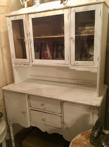 Vintage White Shabby Chic/Farmhouse Style Cabinet