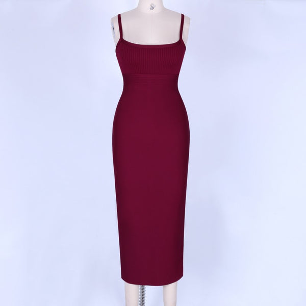 Dylan Sleeveless Midi Bandage Dress-Wine Pink