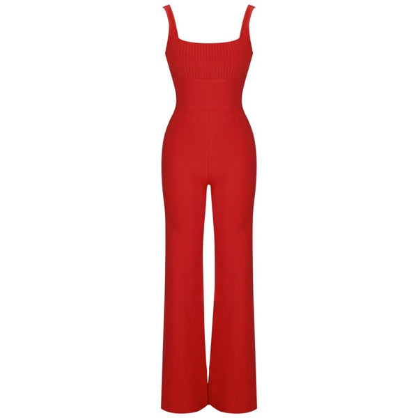 Hayley Red Spaghetti Strap Bandage Jumpsuit