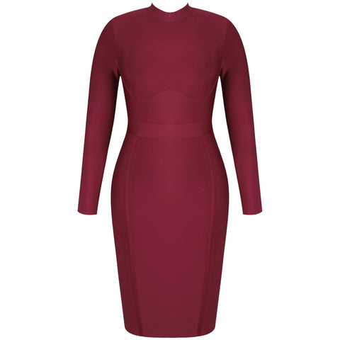 Caterina Red Long Sleeve Bandage Dress- XL+