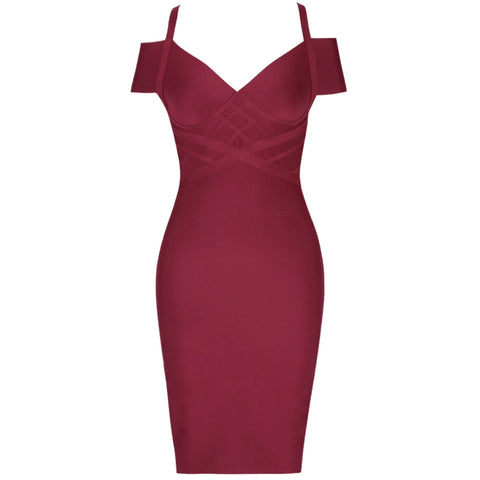 Lorette Off Shoulder Strap Mini Bandage Dress - Red