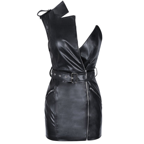 Paulyne Sleeveless Black Asymmetrical Mini with Belt
