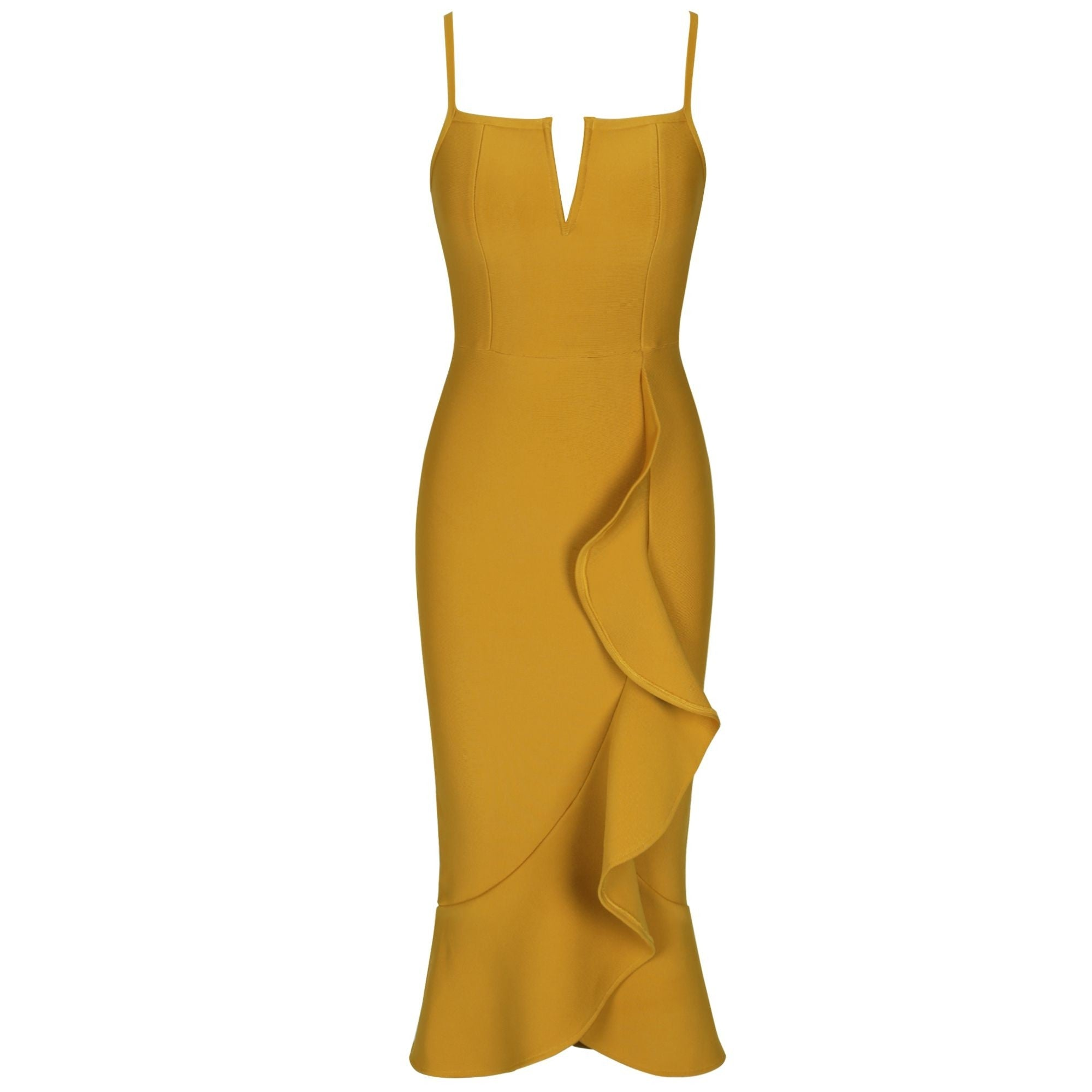 Ashlyn Ginger Yellow Sleeveless Bandage Dress