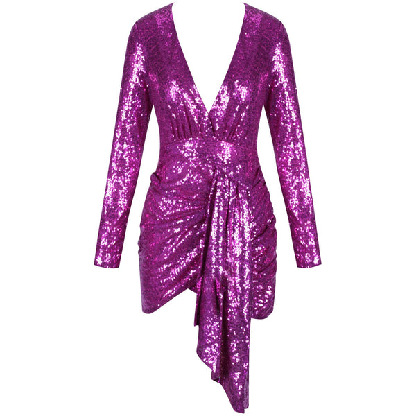 Gianna Pink Long Sleeve V Neck Sequins Mini Dress